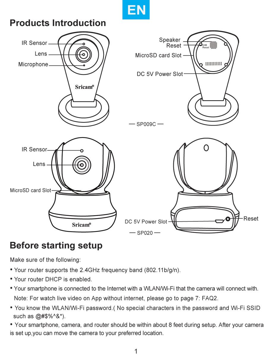 دفترچه راهنمای دوربین وایفای sricam-sp020