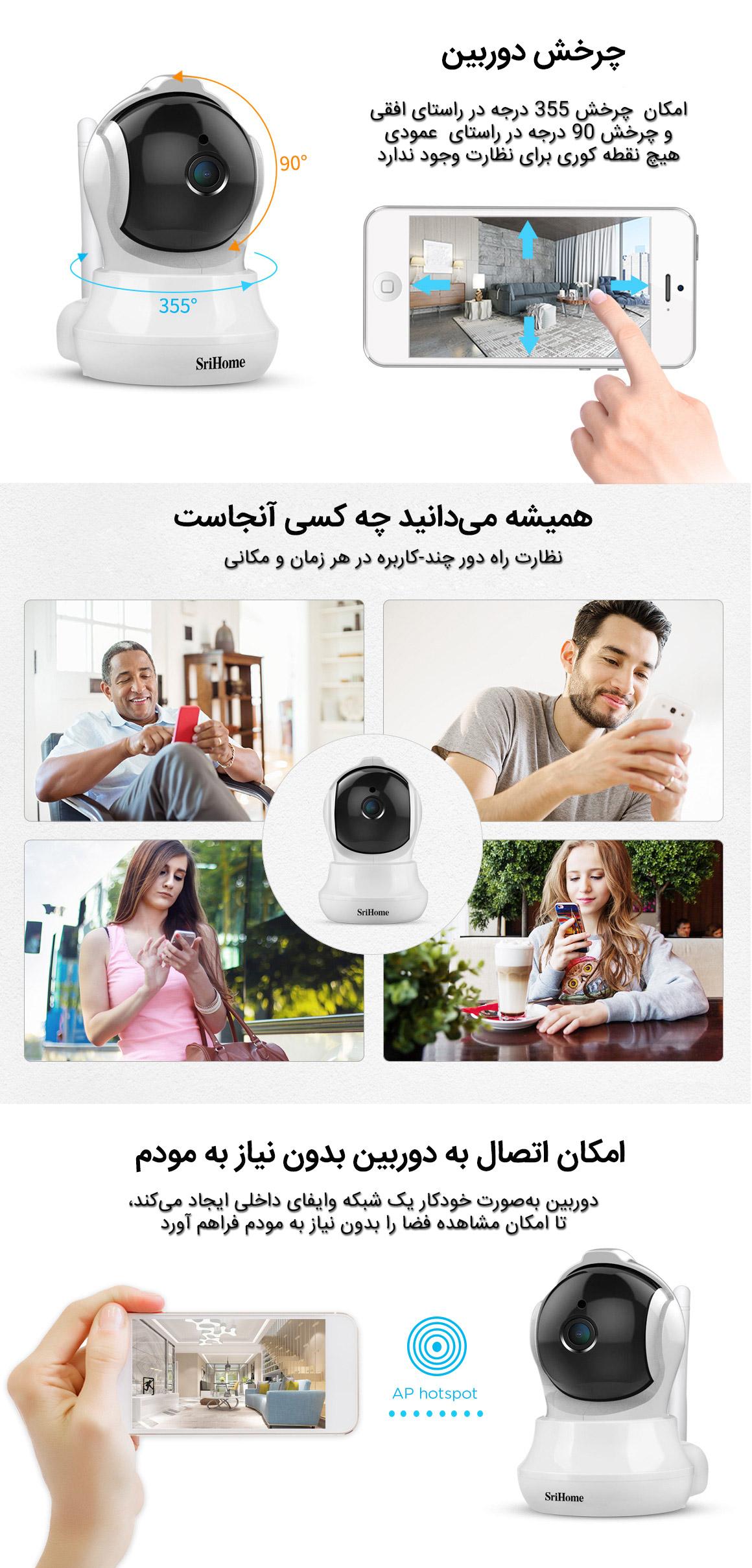 چرخش دوربین و وایفای داخلی دوربین مداربسته وایرلس SH020